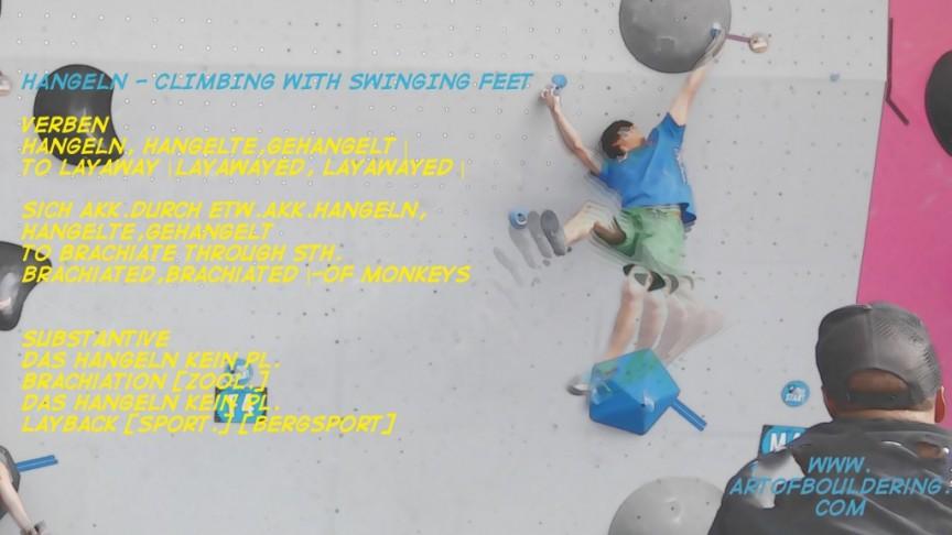 Hangeln-climbing with swinging feet